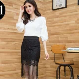 黑色流蘇包裙