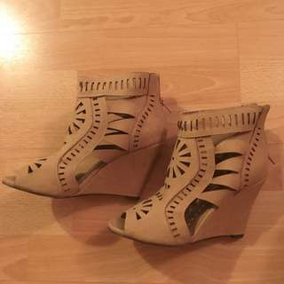Brown Pattern Cut Out Wedges