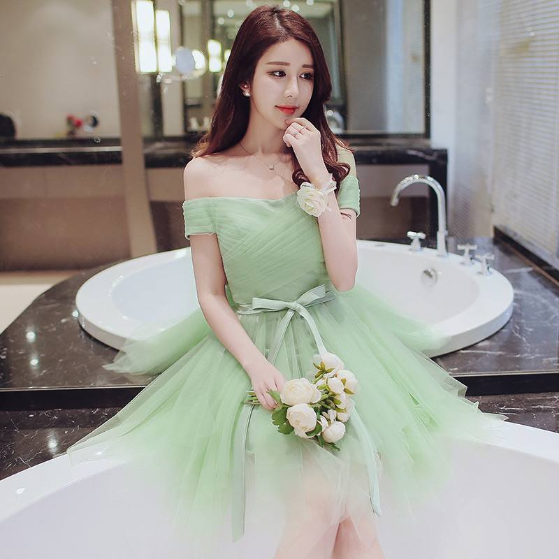 Korean 2017 summer new debut dress,bridesmaid dress short +new  debut Rose Bridal gloves
