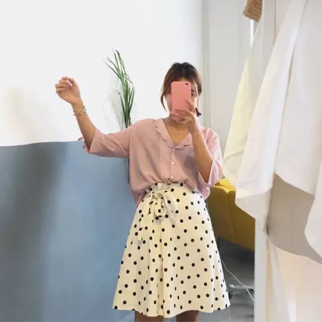 2017 新款韓版 點點綁帶裙 有實穿