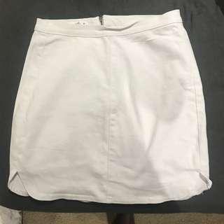 white supre denim skirt