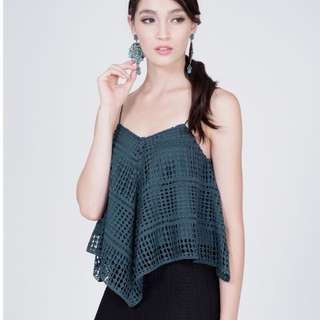 MDS Pearlyn Lacey Top in Green Size L