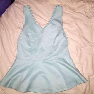 Size S, Light Blue Peplum Top