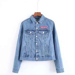 「新品推薦」歐美時尚百搭米老鼠唐老鴨印花牛仔外套