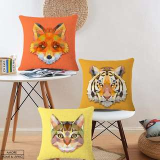 Animal geometry linen cotton cushion cover