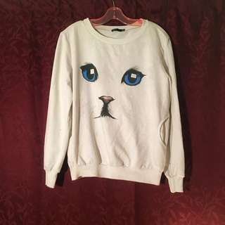 Valley Girl White Cat Sweater
