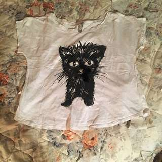 Oversized Switch Kitty Cat Tee With Lace Bow