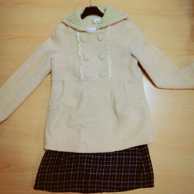 【全館兩件免運】甜美日系雙排扣毛呢外套🌸