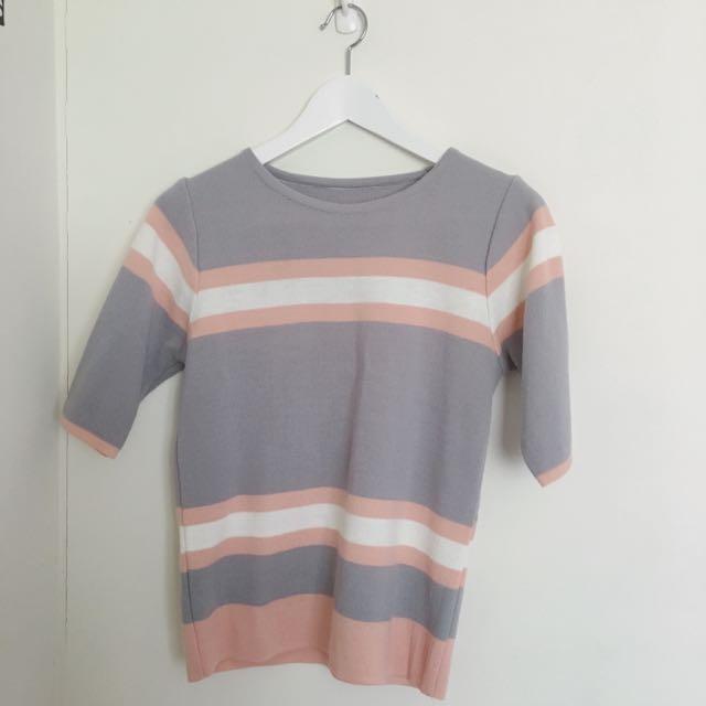 五分袖針織上衣🔺粉紫(含運)