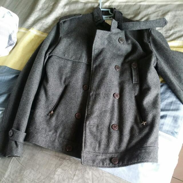 雙排扣毛呢外套深灰色