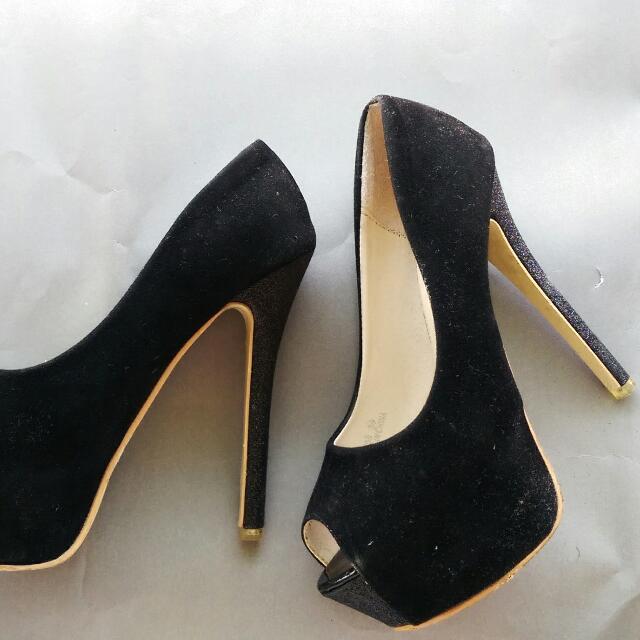 (保留)絨布黑 女神魚口高跟鞋