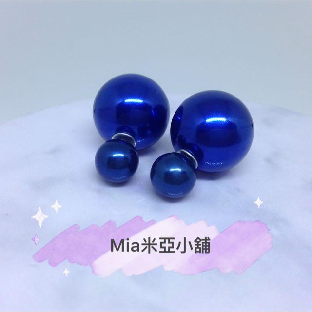 藍色珍珠球耳環