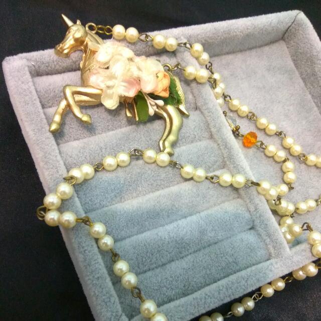 日系。復古獨角獸珍珠長鏈