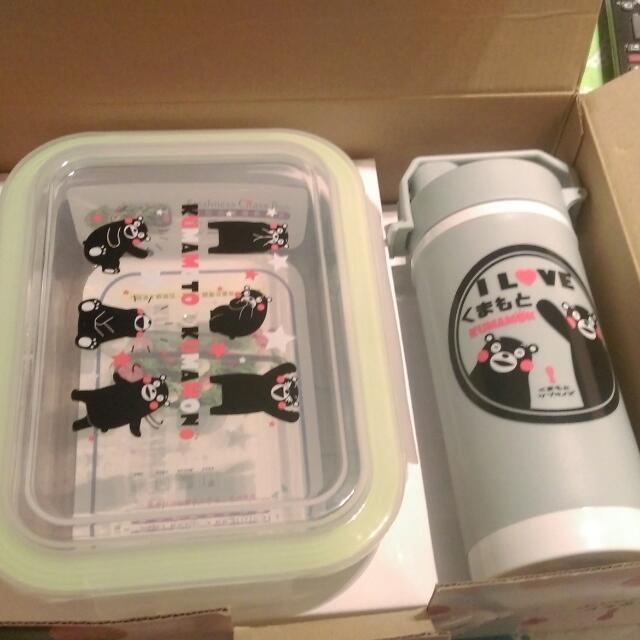 熊本熊 玻璃杯隨身杯+玻璃保鮮盒 禮盒