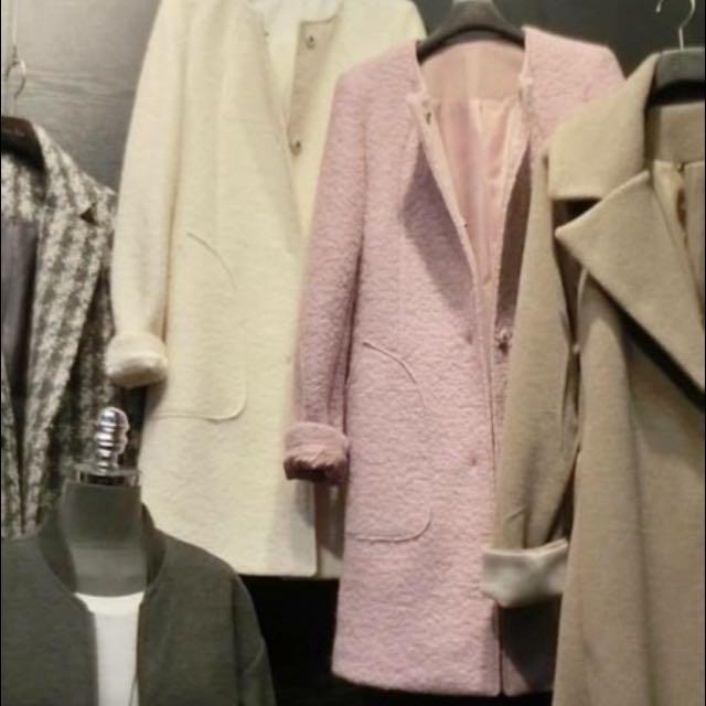 粉紫色 毛呢大衣 厚毛外套,Zara mango h&m 韓大衣 能參考