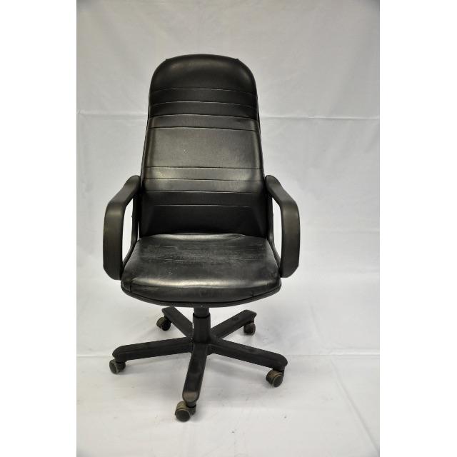 A12含運二手辦公椅、電腦椅、書桌椅、黑色(支撐性強、皮革感透氣舒服)