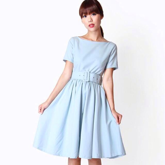 AforArcade Allie Belted Dress in Sky Blue [L]