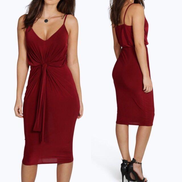 Ava Slinky Twist Knot Front Detail Midi Dress