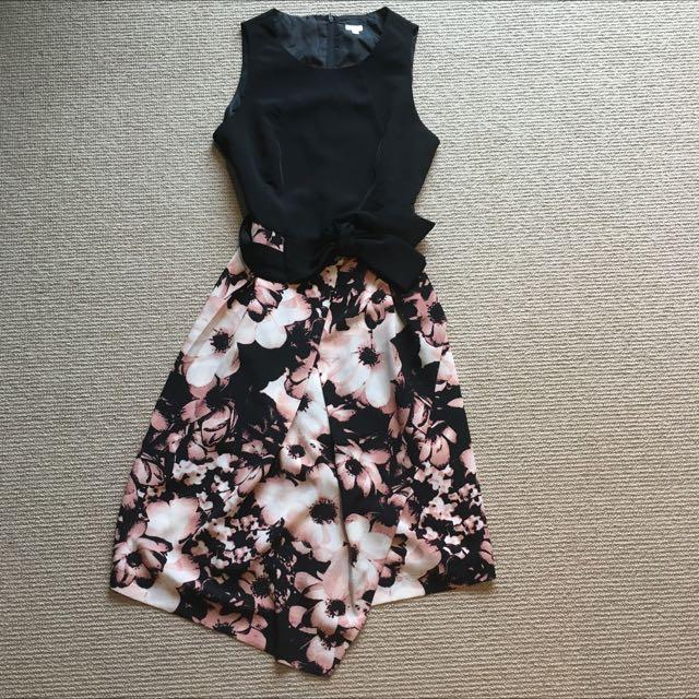Black Bodice Floral Dress