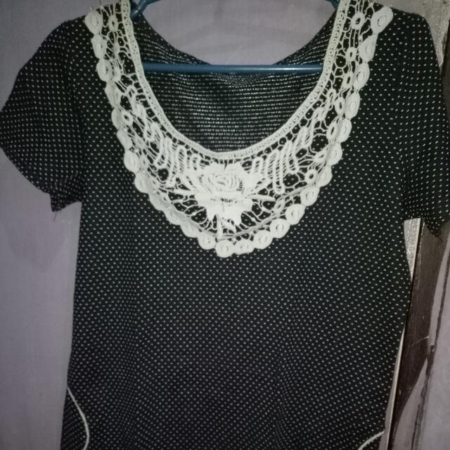 Black Dotted Vintage Dress