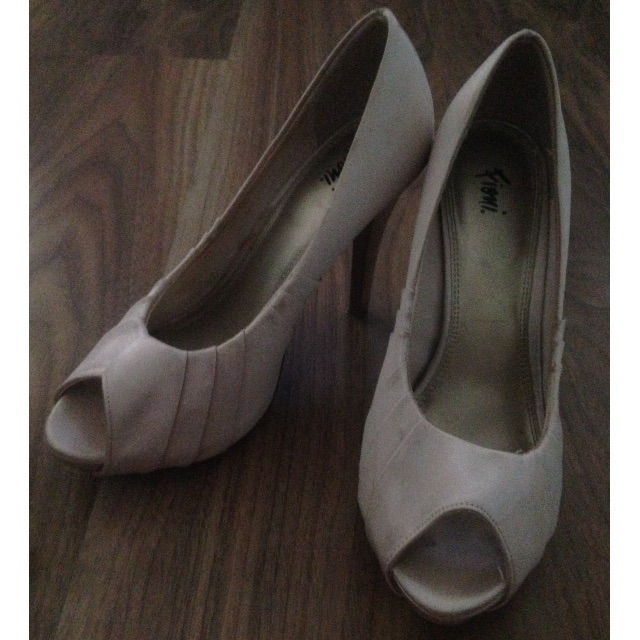 Cream Satin Heels