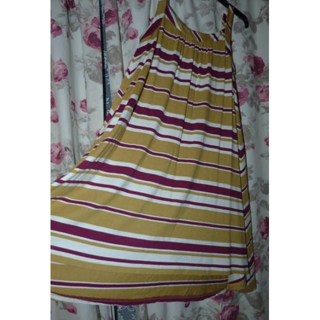 Cue swing beach dress striped Small EUC