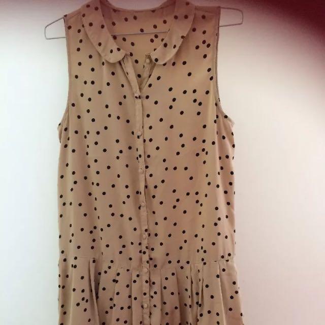 Dot Drop Waist Blush Nude Dress
