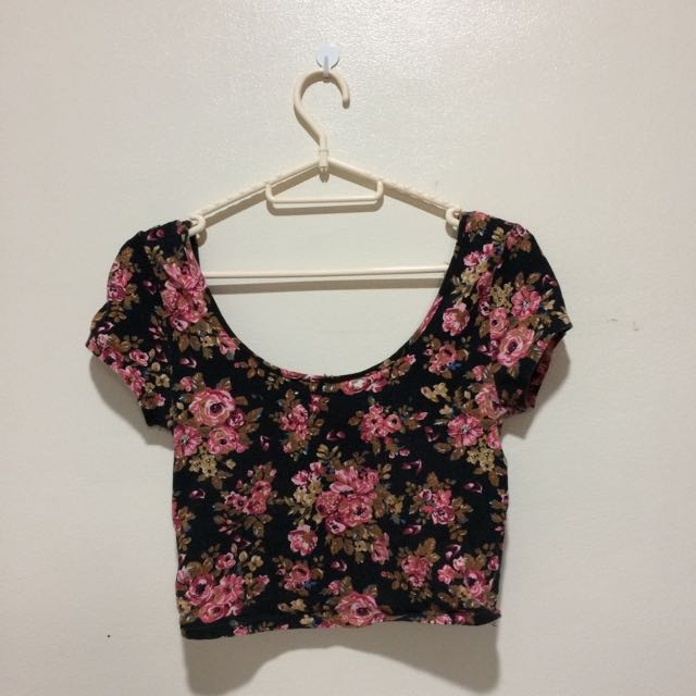 Forever 21 Floral Sexy Back Crop Top