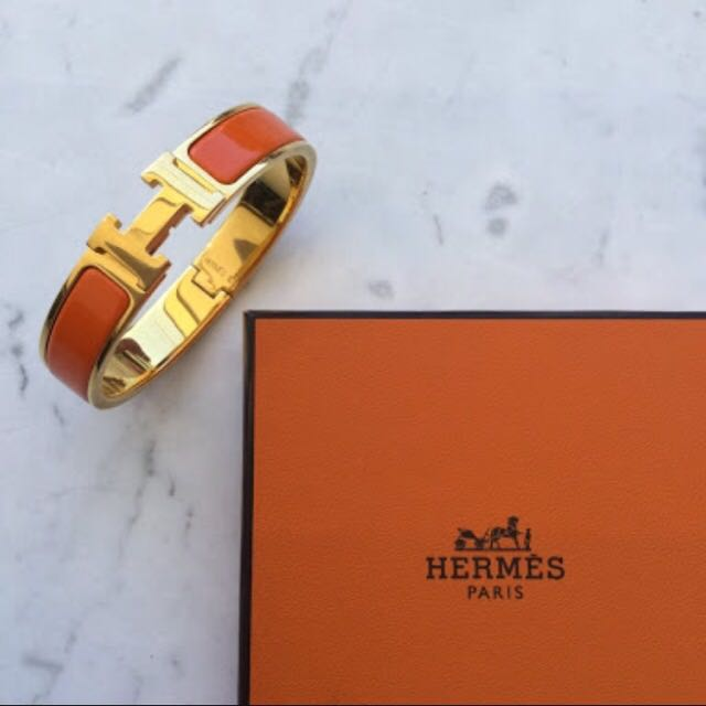 Hermes Clic H Enamel Bracelet In Orange, Gold Plated Finish, Size PM
