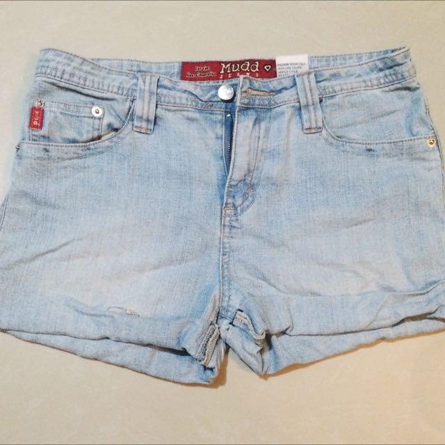 High Waist Acid Wash Shorts
