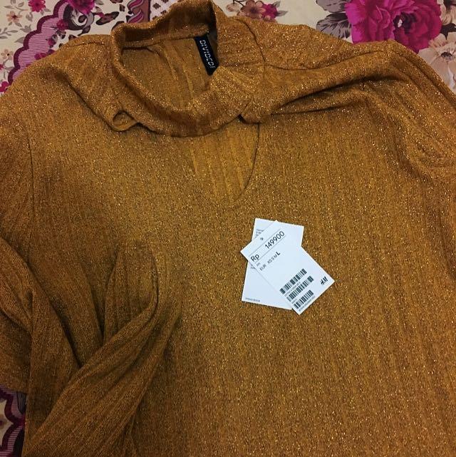 Jual Rugi Belum Dipake Sweater HM Gold