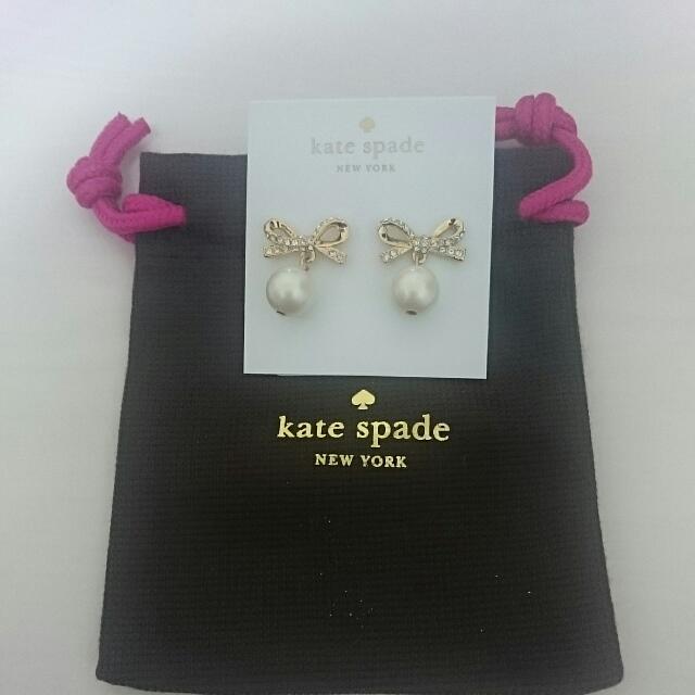 Kate spade 蝴蝶結珍珠耳環