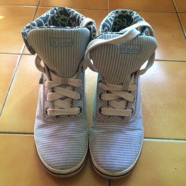 Keds藍白條紋高筒帆布鞋💙