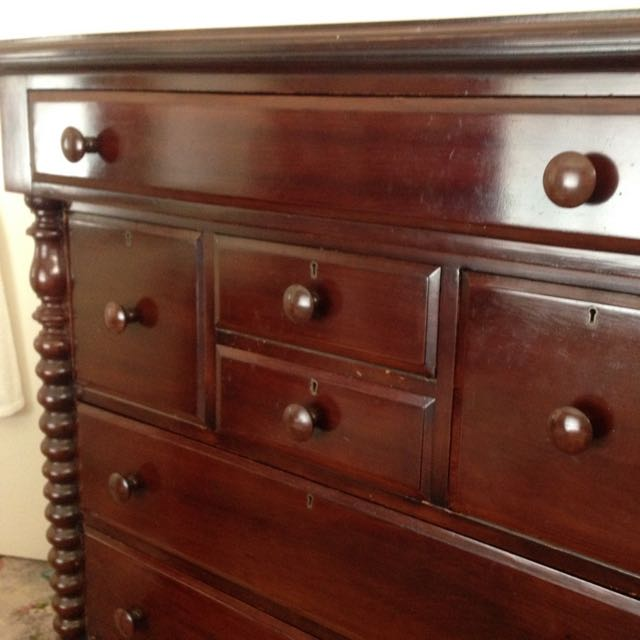 Large Antique Tallboy Chest Of Drawers