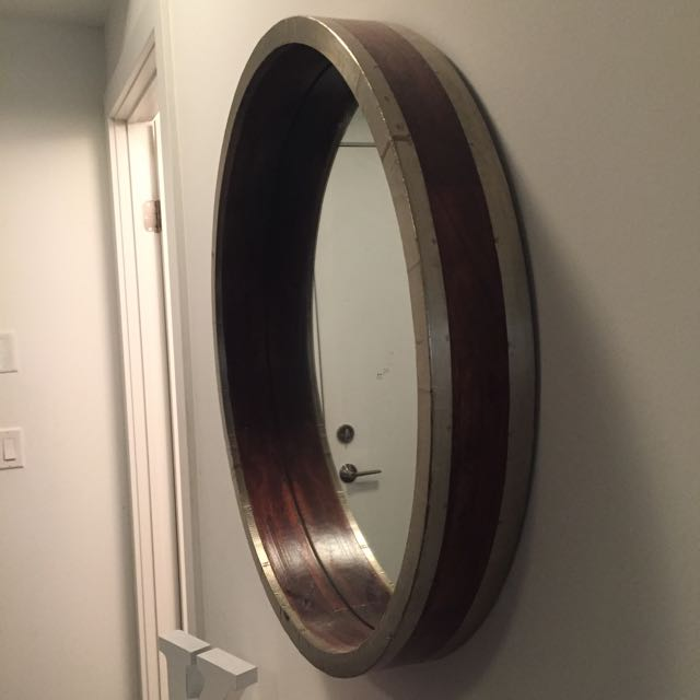 Gold Wooden Framed Round Mirror