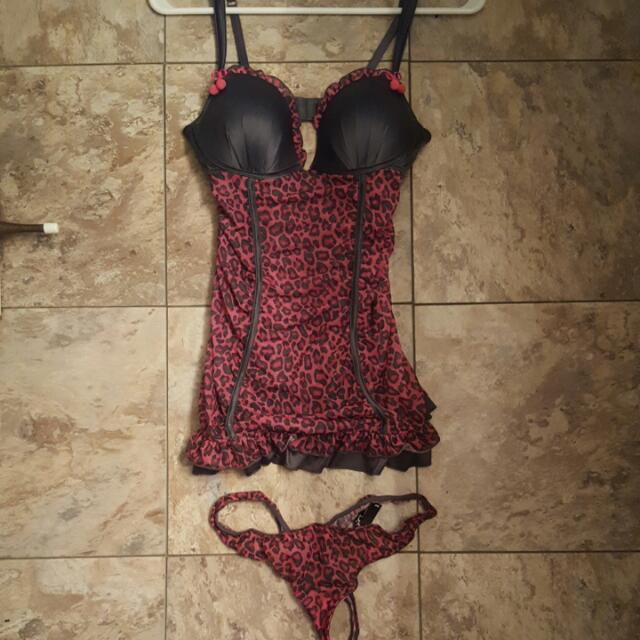 NEW La Senza Cheetah Print with Cherries Lingerie Set - Size Small
