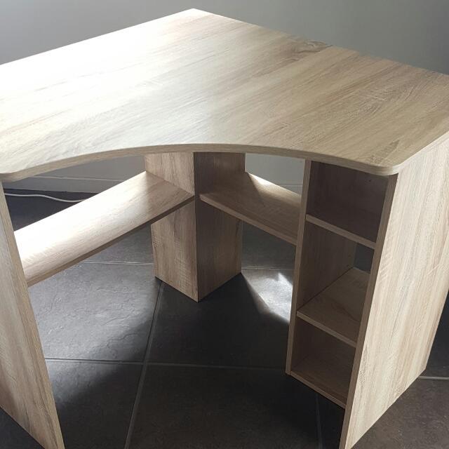 Oak Corner Desk + Book Shelf