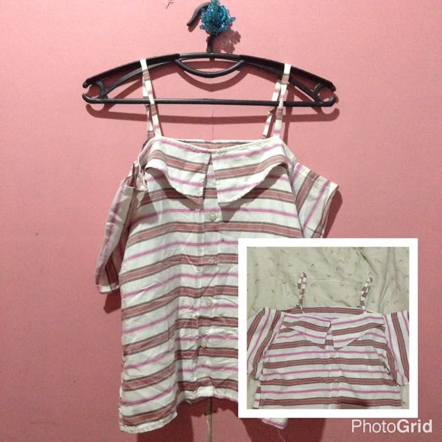 Offshoulder With Strap Striped Blue