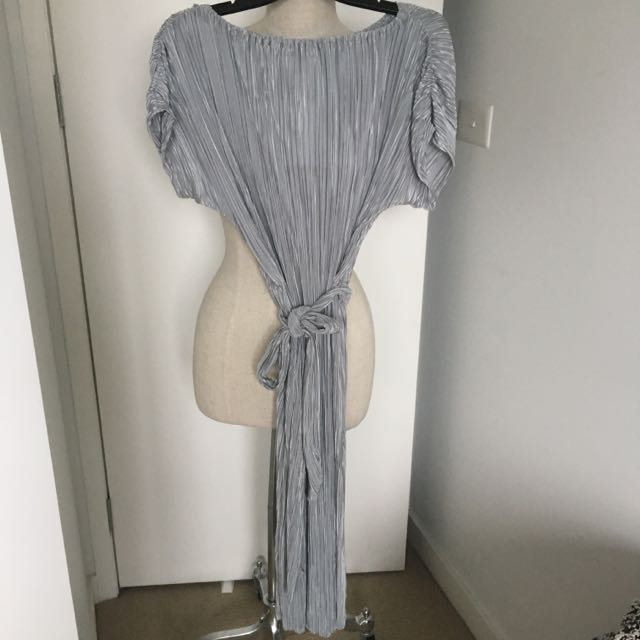 Pleated Silver Dress