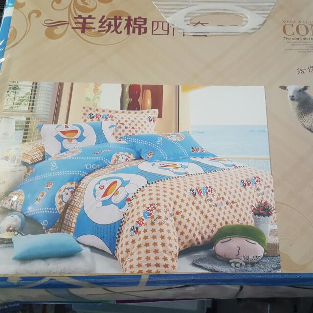 Pre CNY SALES   Premium Quality Sheep Wool Doremon Cartoon Bedsheet ( Non  Fitted ), Everything Else On Carousell