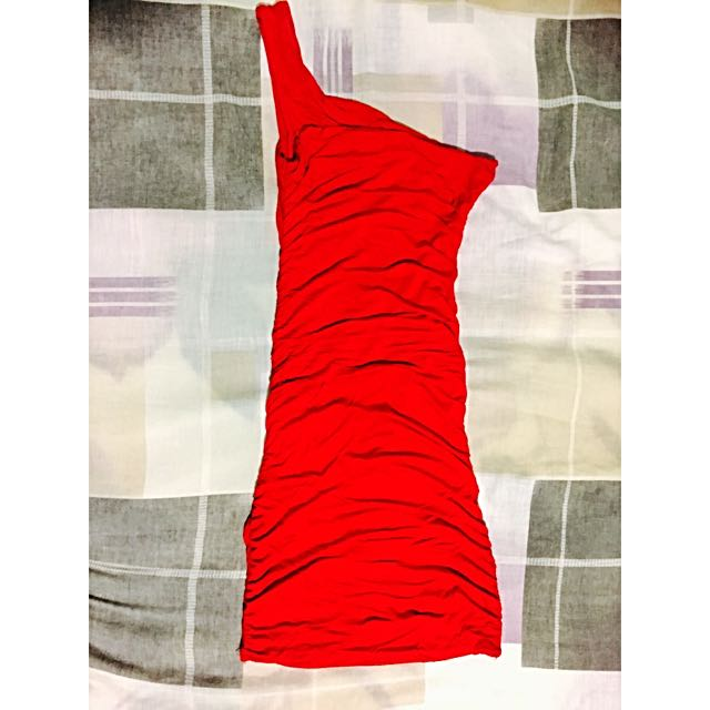 Red Party Dress One Shoulder