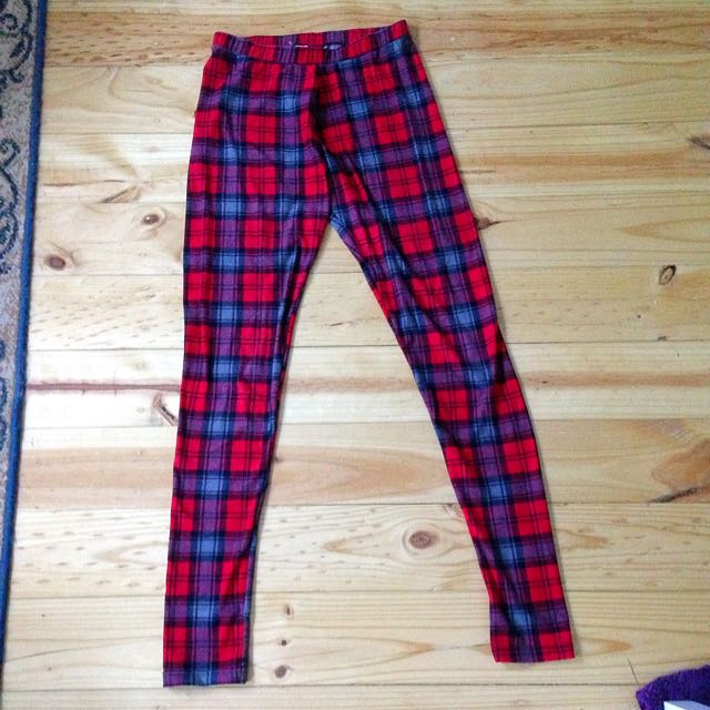 Red Plaid Leggings