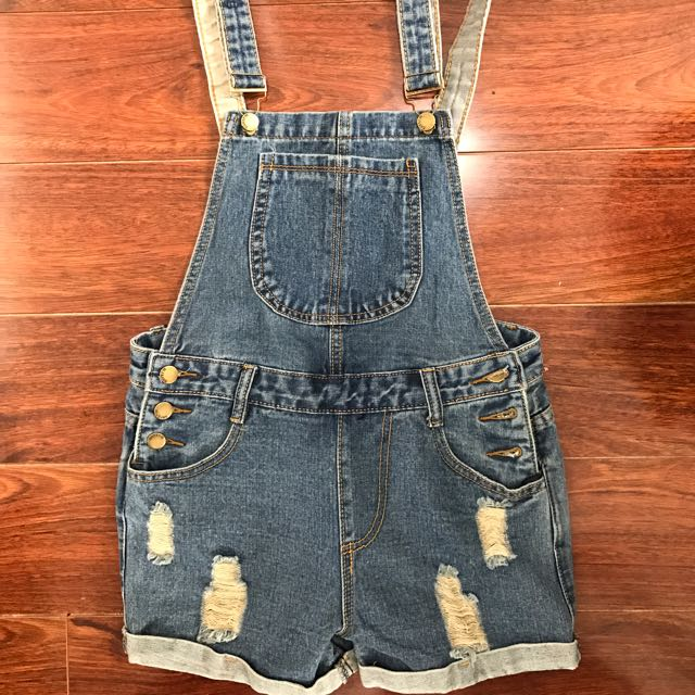 Ripped Overall Shorts