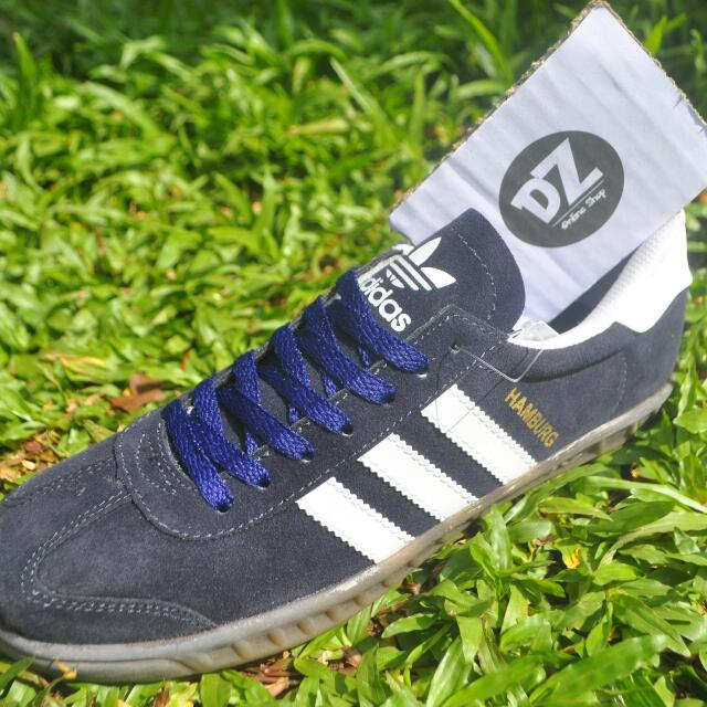 Sepatu Adidas Hamburg Navy Putih Kw Super fa728ea308