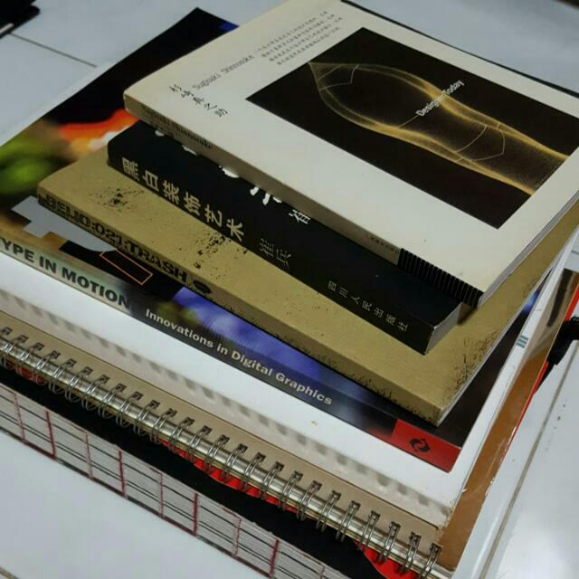 Stack Of Design Books : Typography, Communication Design