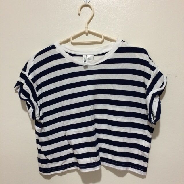 Stripes Blue&white Crop Top
