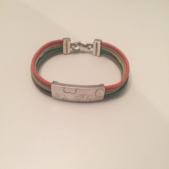 TOUS Sterling Silver & Leather Rainbow Bracelet