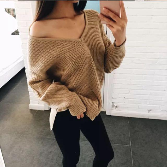 歐美性感大V領毛衣
