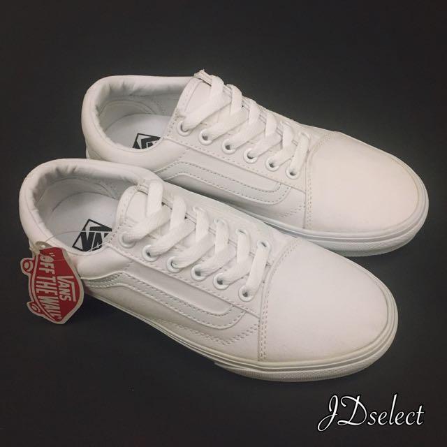 🎉新年優惠價🎉正品實拍Vans Old Skool 全白經典款 帆布鞋 情侶鞋 小白鞋 現貨 預購