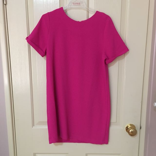 Vibrant Pink Boohoo Shift Dress